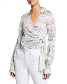 Self-Portrait Striped Long-Sleeve Wrap Top w  Lace at Neiman Marcus