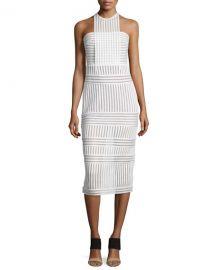 Self-Portrait Striped honeycomb-mesh midi dress at Neiman Marcus