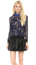 Self Portrait Textured Lace Sweatshirt Top at Shopbop