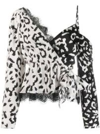 Self-Portrait leopard print wrap top at Farfetch