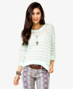 Semi Sheer High Low Sweater in Mint at Forever 21
