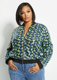 Sequin Bomber Jacket by Ashley Stewart at Ashley Stewart