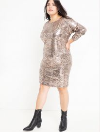 Sequin Easy Dress with V Back at Eloquii