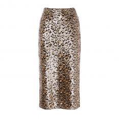 Sequin Leopard Midi Skirt  at Karen Millen