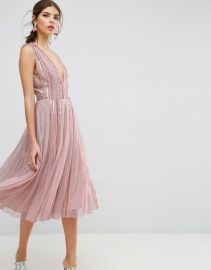 Sequin Mesh Fit and Flare Midi Dress by ASOS at ASOS