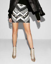 Sequin Mini Skirt at Express