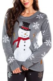 Sequin Snowman Christmas Sweater at Amazon