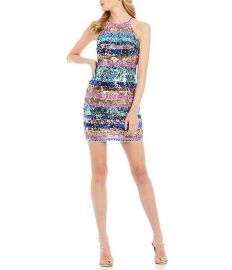 Sequin Stripe Halter Neck Mini Sheath Dress at Dillards