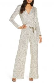 Sequin Wrap Front Long Sleeve Jumpsuit by Eliza J at Nordstrom