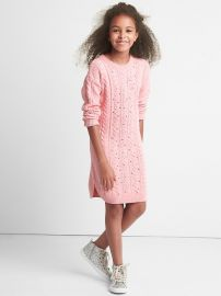 Sequin cable knit sweater dress at Gap