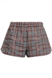 Sequin-embellished checked linen shorts at The Outnet