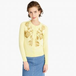 Sequin floral embroidered cotton Jackie cardigan sweater Item J4839 at J. Crew