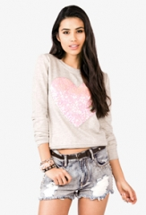 Sequin heart sweater at Forever 21