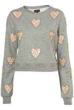 Sequin heart sweater at Topshop at Topshop