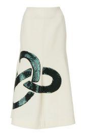 Sequined Flared Crepe Midi-Skirt at Moda Operandi