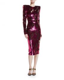 Sequined Long-Sleeve Open-Back Cocktail Dress by Alexandre Vauthier at Bergdorf Goodman