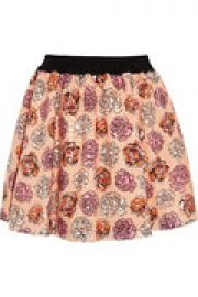 Sequined floral-print voile mini skirt at The Outnet
