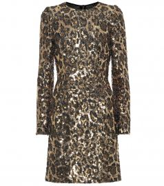 Sequined leopard minidress at Mytheresa