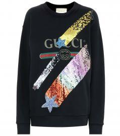 Sequinned cotton sweatshirt at Mytheresa