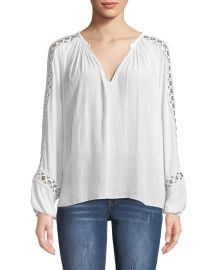 Sera V-Neck Long-Sleeve Blouse with Grommet Trim by Ramy Brook at Bergdorf Goodman