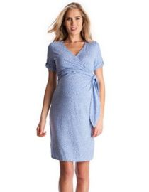 Seraphine Maternity Womenand39s Baby Blue Polka Dot Maternity Dress at Amazon