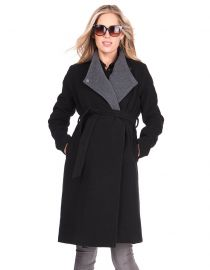Seraphine Wool & Cashmere Black Maternity Coat  at Seraphine