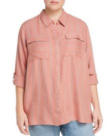 Seven7 Jeans Plus Striped Roll-Cuff Shirt Women -  Plus - Bloomingdale s at Bloomingdales