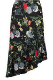 Seville asymmetric floral-print silk midi skirt at The Outnet