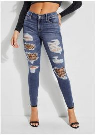 Sexy Curve Faux-Pearl Fishnet Jeans at Guess