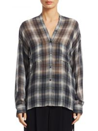 Shadow Plaid Silk Blouse Vince at Saks Off 5th
