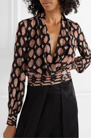 Shaila printed silk crepe de chine wrap top at Net A Porter