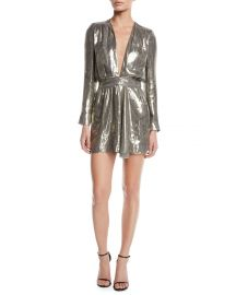 Shaina Plunging Metallic Short Dress at Last Call