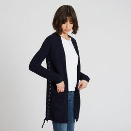 Shaker Cardigan with side lacing at Autumn Cashmere