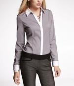 Shaunas grey and white shirt at Express