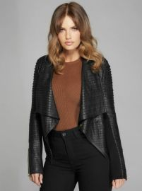 Shayna Drape Leather Jacket at Guess