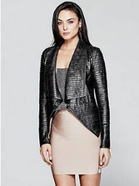 Shayna Drape Leather Jacket by Guess at Guess