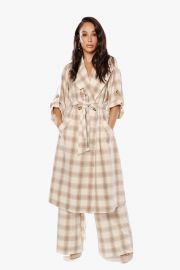 She Loves the Attention Plaid Trench by The Cara Santana Collection at The Cara Santana Collection