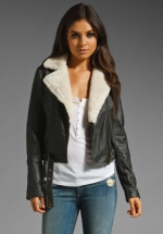 Shearling jacket by Current Elliot on HIMYM at Revolve
