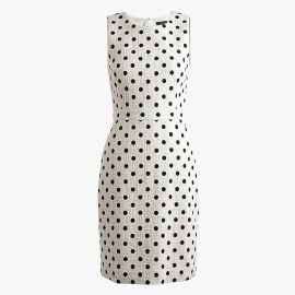 Sheath Dress in Polka Dot Textured Tweed at J. Crew