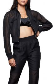 Sheer Crop Bomber Jacket at Nordstrom
