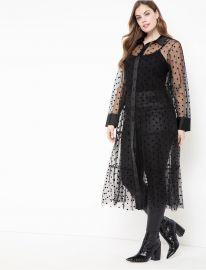 Sheer Dot Maxi Dress at Eloquii