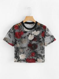 Sheer Mesh Floral Embroidered Crop Top by Shein at Shein