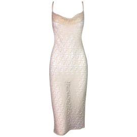 Sheer Monogram Logo Wiggle Dress by Fendi at 1stdibs
