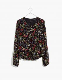 Sheer-Sleeve Ruffle Peplum Top in Finch Floral by Madewell at Madewell