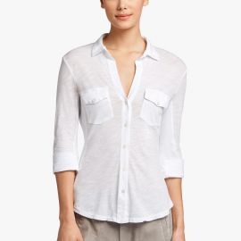 Sheer Slub Side Panel Blouse by James Perse at James Perse