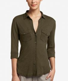 Sheer Slub Side Panel Shirt by James Perse at James Perse
