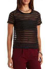 Sheer Striped Organza Top at Charlotte Russe