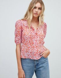 Sheer Tea Blouse in Leopard Print with Ruffle Collar at Asos