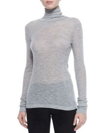 Sheer Wooly Ribbed Turtleneck by T by Alexander Wang at Neiman Marcus