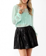 Sheer mint blouse at Forever 21